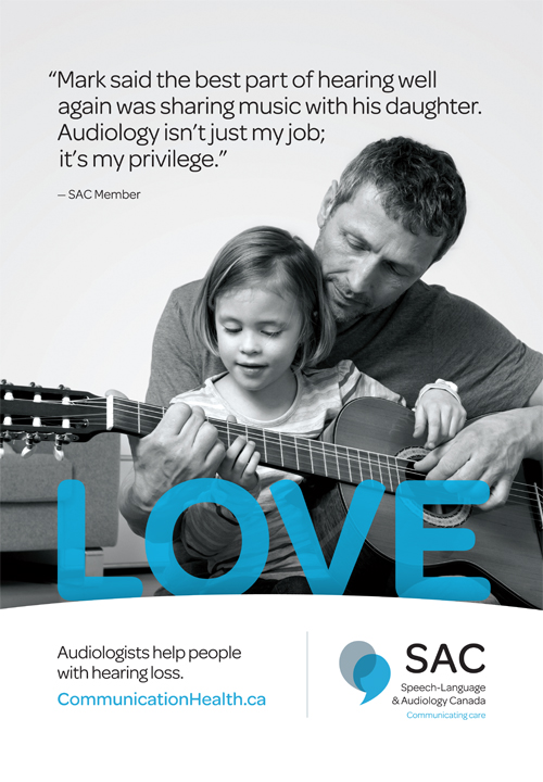 Audiologists help people with hearing loss poster